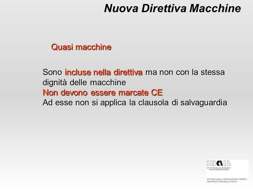 Nuova Direttiva Macchine Sono incluse nella direttiva ma non con la stessa dignità delle macchine Non devono essere marcate CE Ad esse non si applica la clausola di salvaguardia Quasi macchine