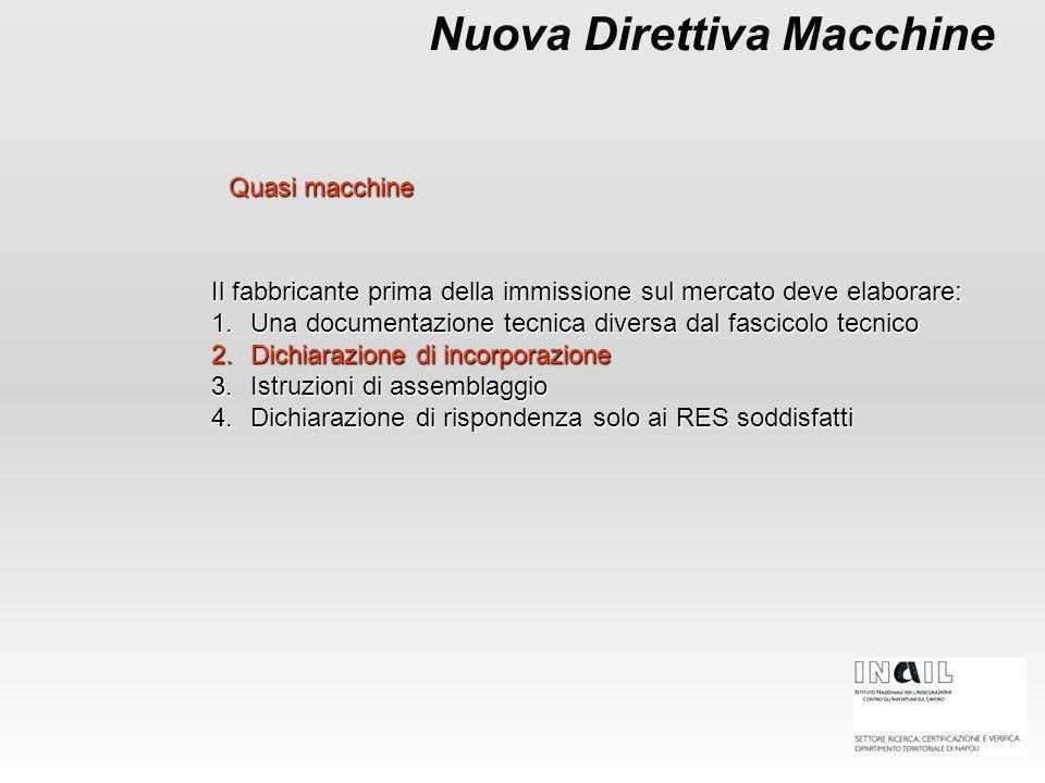 Nuova Direttiva Macchine Il fabbricante prima della immissione sul mercato deve elaborare: 1.Una documentazione tecnica diversa dal fascicolo tecnico
