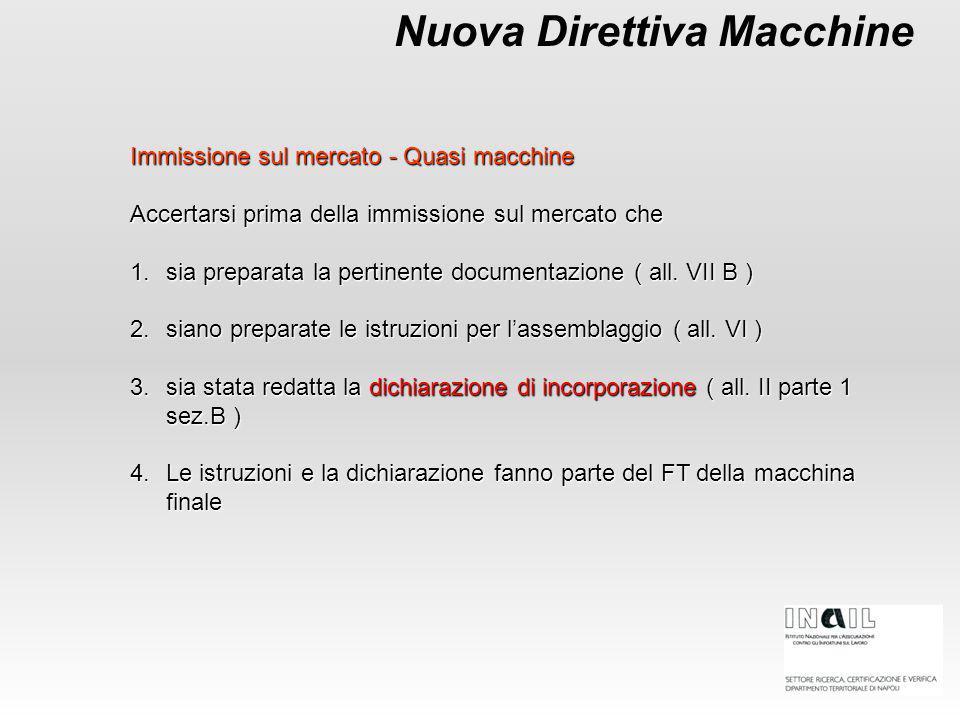 Immissione sul mercato - Quasi macchine Accertarsi prima della immissione sul mercato che 1.sia preparata la pertinente documentazione ( all. VII B )