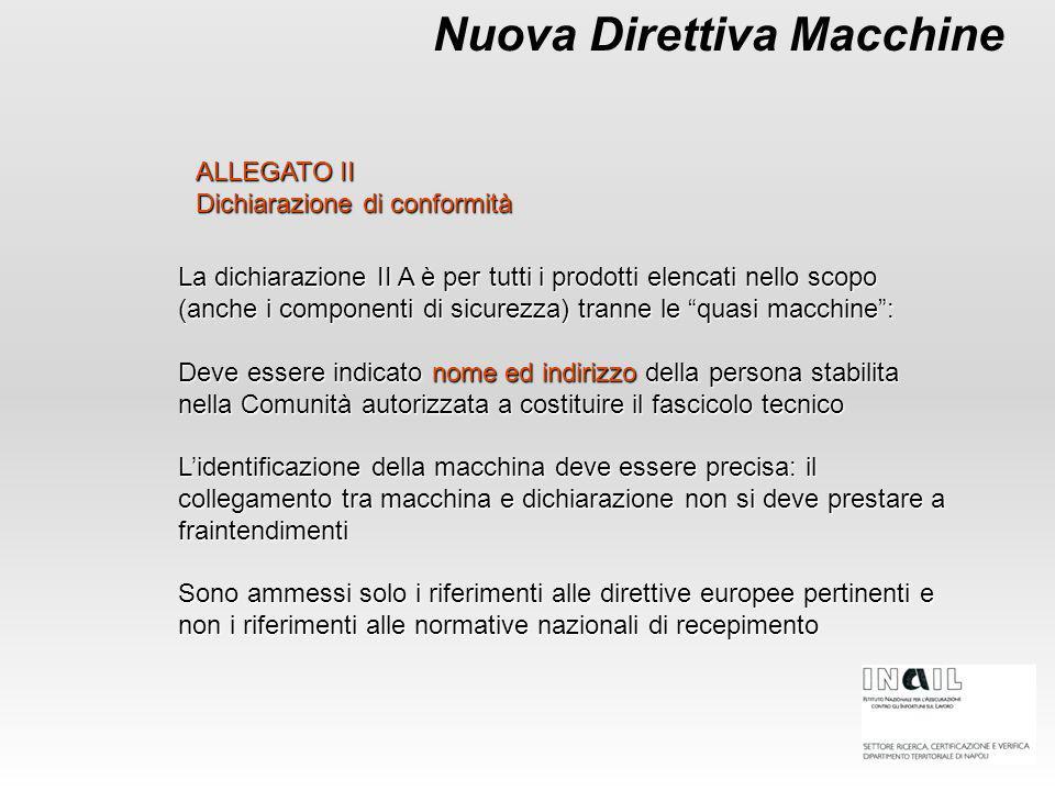 Nuova Direttiva Macchine ALLEGATO II Dichiarazione di conformità La dichiarazione II A è per tutti i prodotti elencati nello scopo (anche i componenti