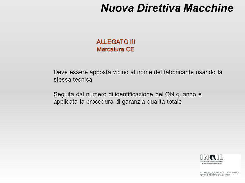 Nuova Direttiva Macchine Deve essere apposta vicino al nome del fabbricante usando la stessa tecnica Seguita dal numero di identificazione del ON quan