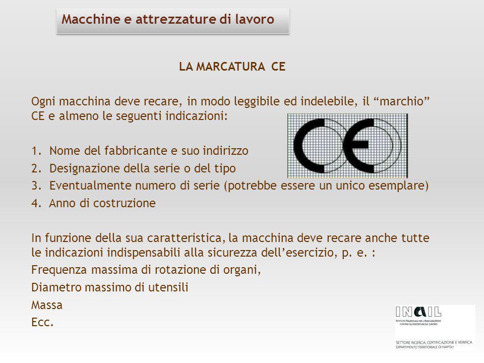 """LA MARCATURA CE Ogni macchina deve recare, in modo leggibile ed indelebile, il """"marchio"""" CE e almeno le seguenti indicazioni: 1. Nome del fabbricante"""