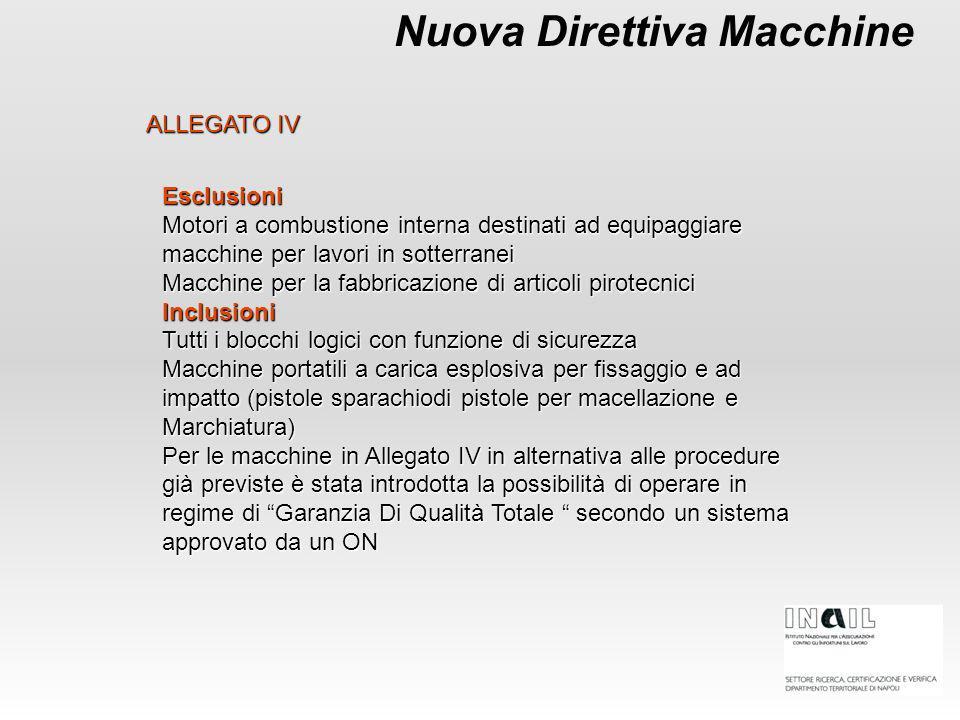 Nuova Direttiva Macchine ALLEGATO IV Esclusioni Motori a combustione interna destinati ad equipaggiare macchine per lavori in sotterranei Macchine per