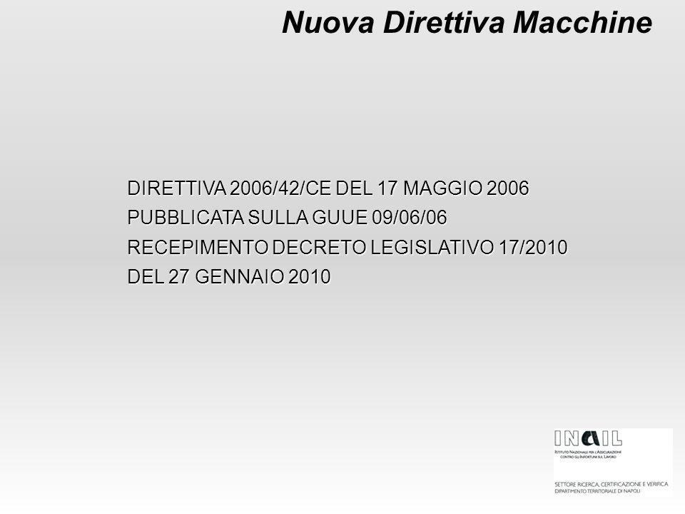Nuova Direttiva Macchine DIRETTIVA 2006/42/CE DEL 17 MAGGIO 2006 PUBBLICATA SULLA GUUE 09/06/06 RECEPIMENTO DECRETO LEGISLATIVO 17/2010 DEL 27 GENNAIO