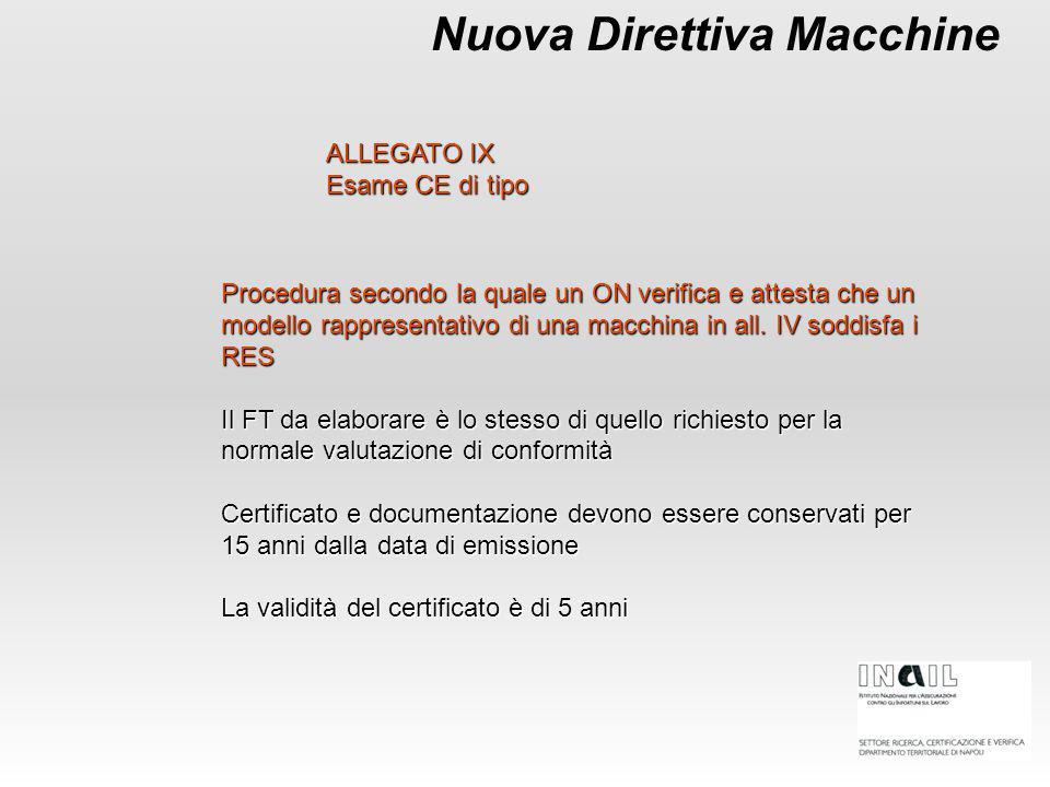 Nuova Direttiva Macchine ALLEGATO IX Esame CE di tipo Procedura secondo la quale un ON verifica e attesta che un modello rappresentativo di una macchi