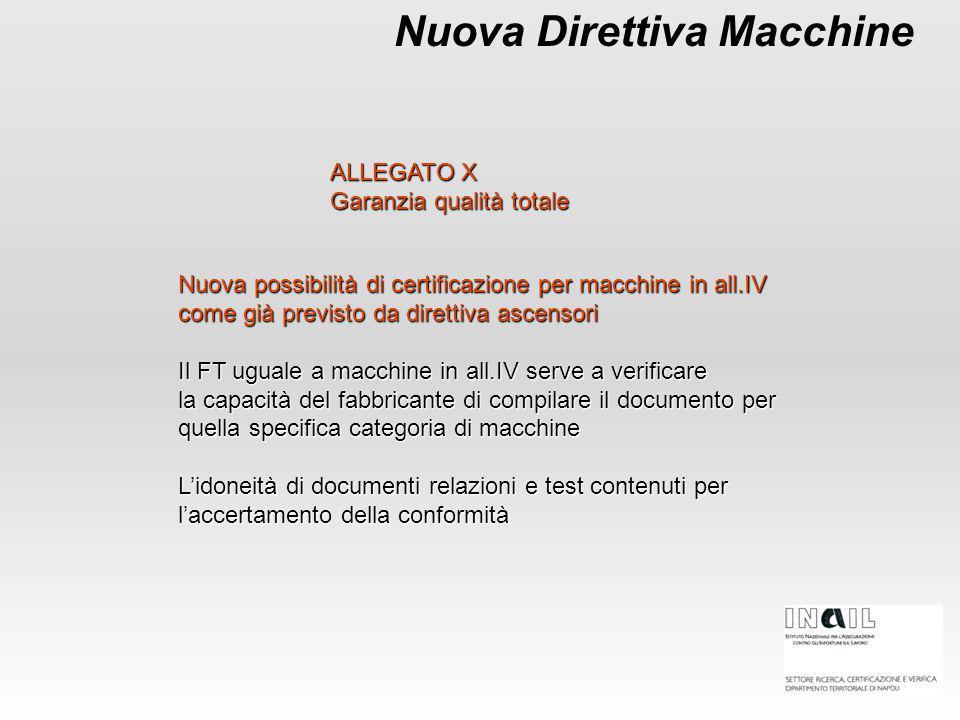 Nuova Direttiva Macchine Nuova possibilità di certificazione per macchine in all.IV come già previsto da direttiva ascensori Il FT uguale a macchine i