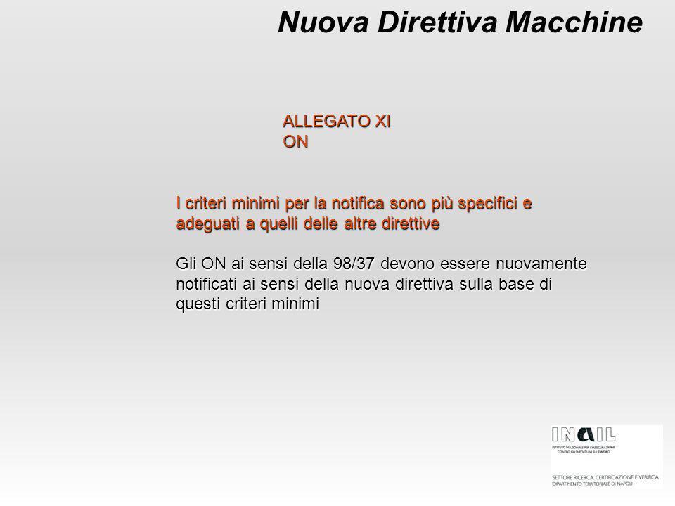 Nuova Direttiva Macchine I criteri minimi per la notifica sono più specifici e adeguati a quelli delle altre direttive Gli ON ai sensi della 98/37 dev