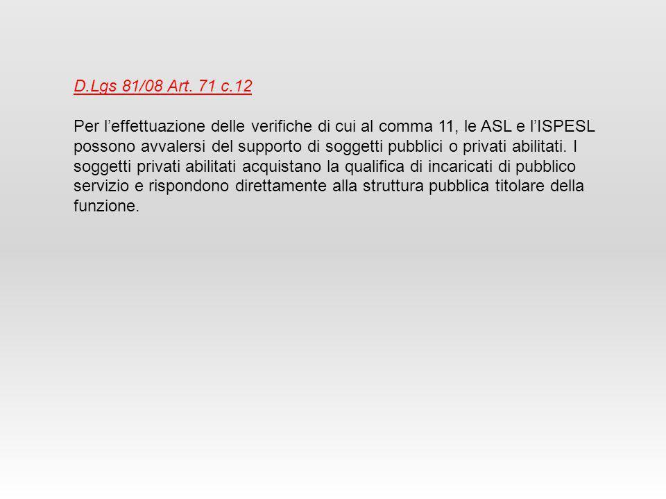 D.Lgs 81/08 Art. 71 c.12 Per l'effettuazione delle verifiche di cui al comma 11, le ASL e l'ISPESL possono avvalersi del supporto di soggetti pubblici