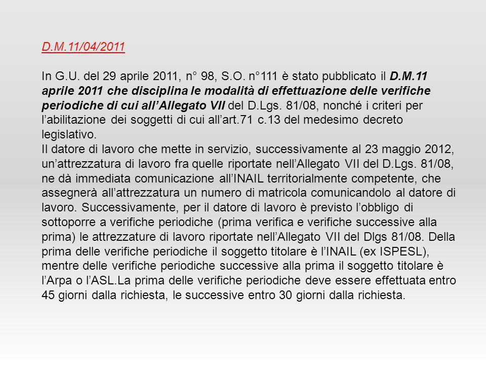 D.M.11/04/2011 In G.U.del 29 aprile 2011, n° 98, S.O.