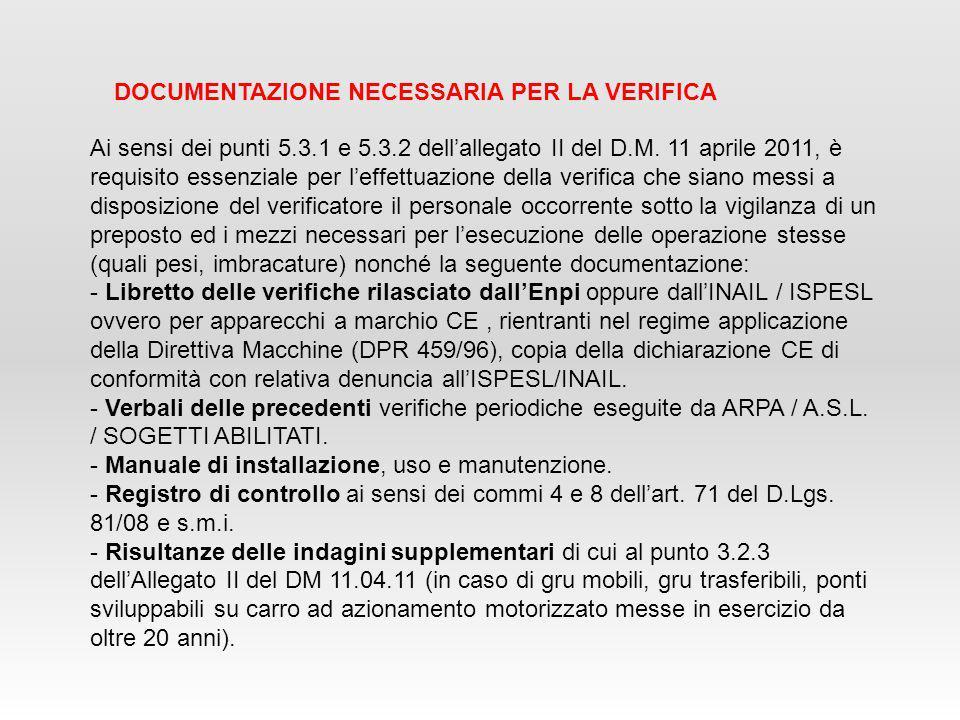 Ai sensi dei punti 5.3.1 e 5.3.2 dell'allegato II del D.M. 11 aprile 2011, è requisito essenziale per l'effettuazione della verifica che siano messi a