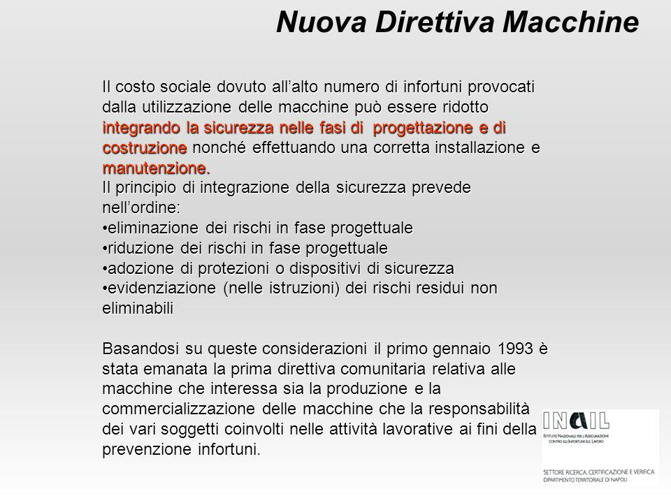 Nuova Direttiva Macchine Il costo sociale dovuto all'alto numero di infortuni provocati dalla utilizzazione delle macchine può essere ridotto integran