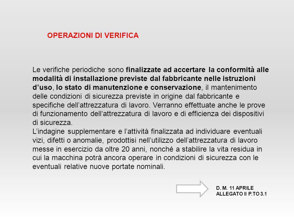 Le verifiche periodiche sono finalizzate ad accertare la conformità alle modalità di installazione previste dal fabbricante nelle istruzioni d'uso, lo
