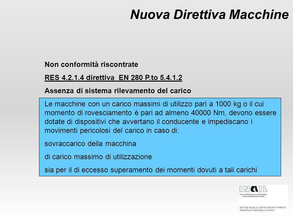 Nuova Direttiva Macchine Non conformità riscontrate RES 4.2.1.4 direttiva EN 280 P.to 5.4.1.2 Assenza di sistema rilevamento del carico Le macchine co