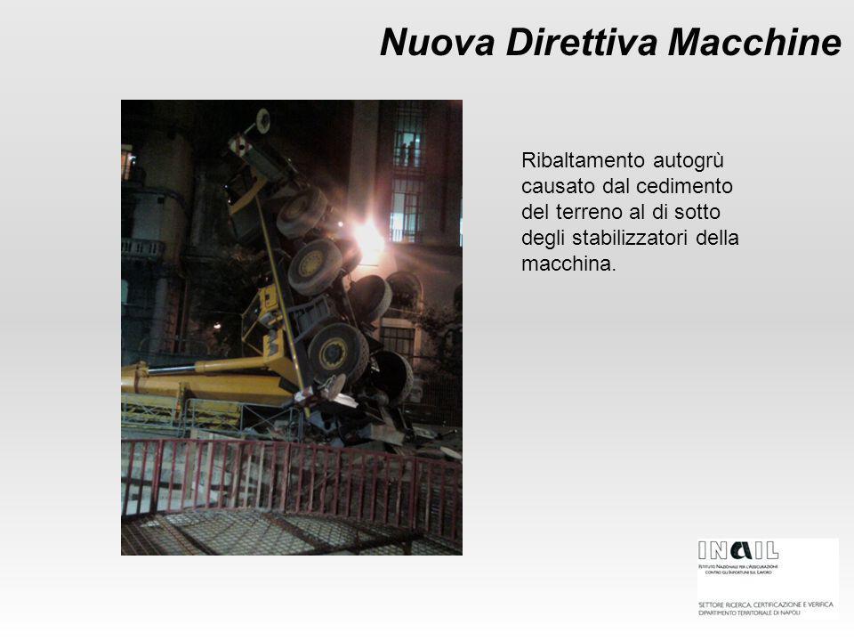 Nuova Direttiva Macchine Ribaltamento autogrù causato dal cedimento del terreno al di sotto degli stabilizzatori della macchina.
