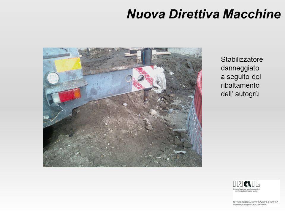 Nuova Direttiva Macchine Stabilizzatore danneggiato a seguito del ribaltamento dell' autogrù