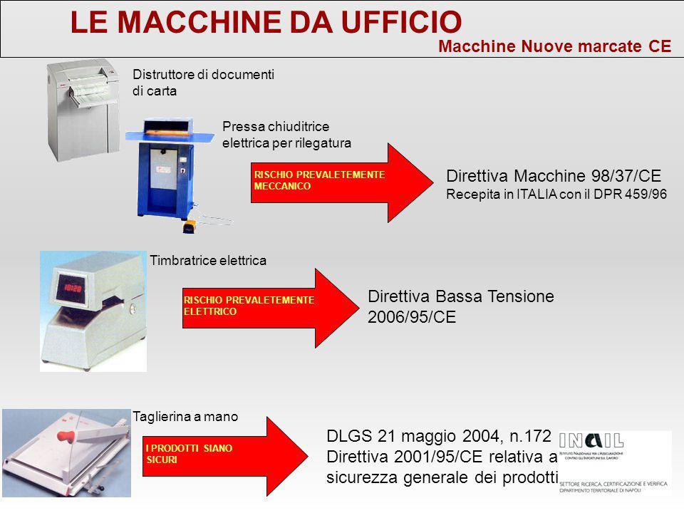 LE MACCHINE DA UFFICIO Macchine Nuove marcate CE Direttiva Macchine 98/37/CE Recepita in ITALIA con il DPR 459/96 Pressa chiuditrice elettrica per ril