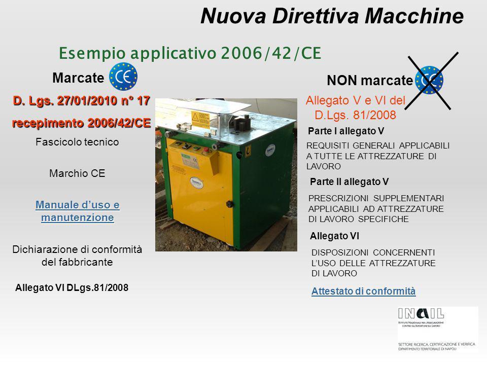 Nuova Direttiva Macchine Marcate NON marcate Manuale d'uso e manutenzione Manuale d'uso e manutenzione D. Lgs. 27/01/2010 n° 17 recepimento 2006/42/CE