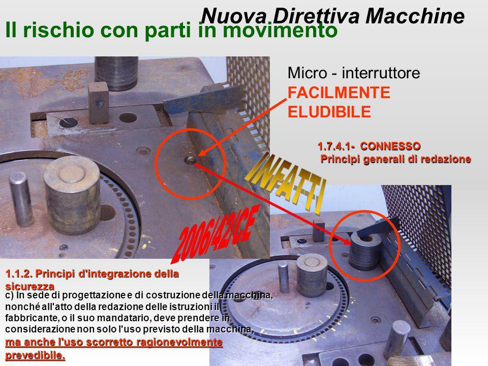Nuova Direttiva Macchine Il rischio con parti in movimento Micro - interruttore FACILMENTE ELUDIBILE 1.1.2. Principi d'integrazione della sicurezza c)