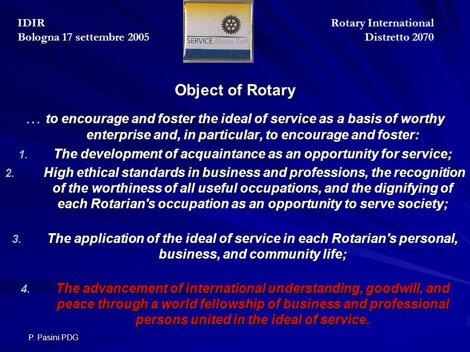 P.Pasini PDG il Rotary Club La politica del R.I.