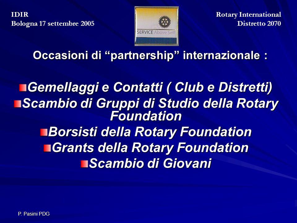 """P. Pasini PDG Occasioni di """"partnership"""" internazionale : Occasioni di """"partnership"""" internazionale : Gemellaggi e Contatti ( Club e Distretti) Scambi"""