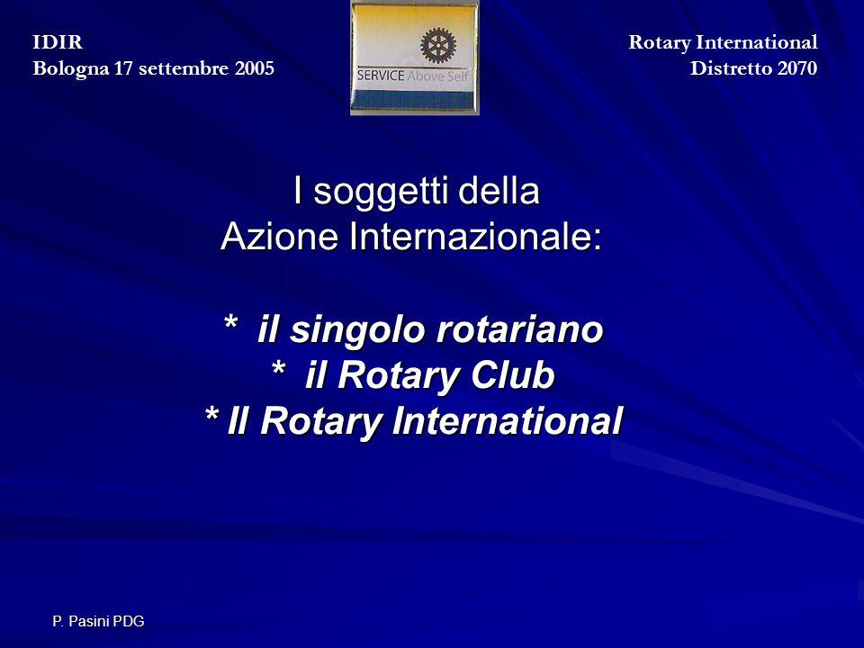 P. Pasini PDG I soggetti della Azione Internazionale: * il singolo rotariano * il Rotary Club * Il Rotary International I soggetti della Azione Intern