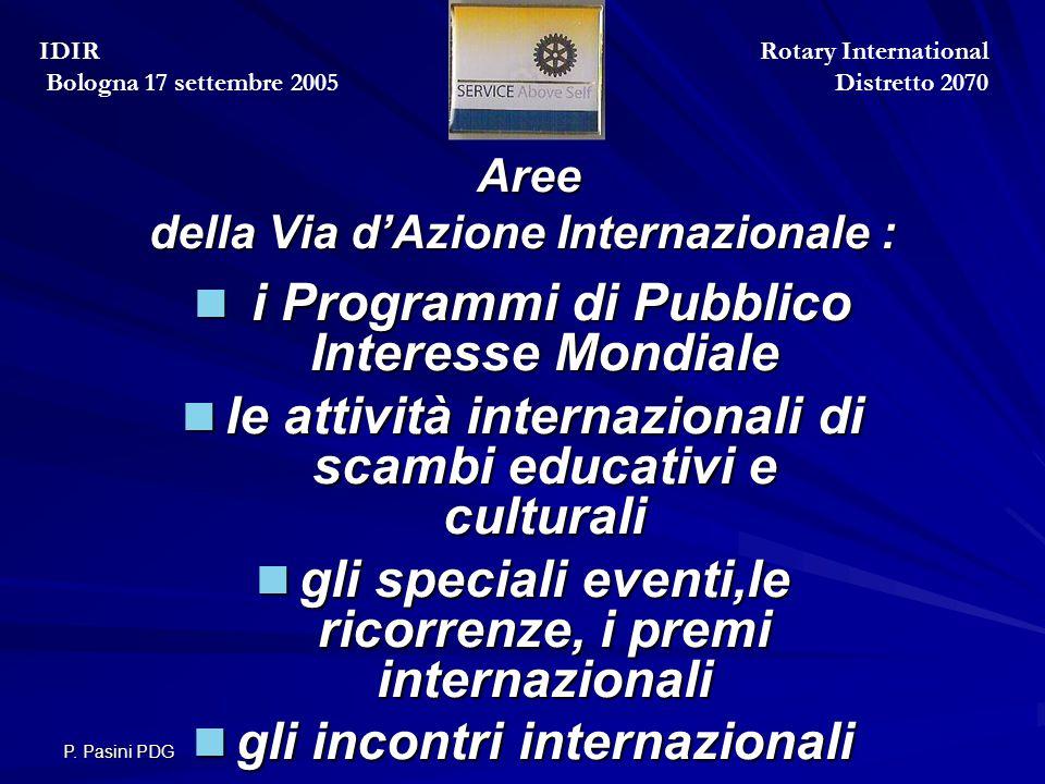 P. Pasini PDG Aree della Via d'Azione Internazionale : Aree della Via d'Azione Internazionale : i Programmi di Pubblico Interesse Mondiale i Programmi