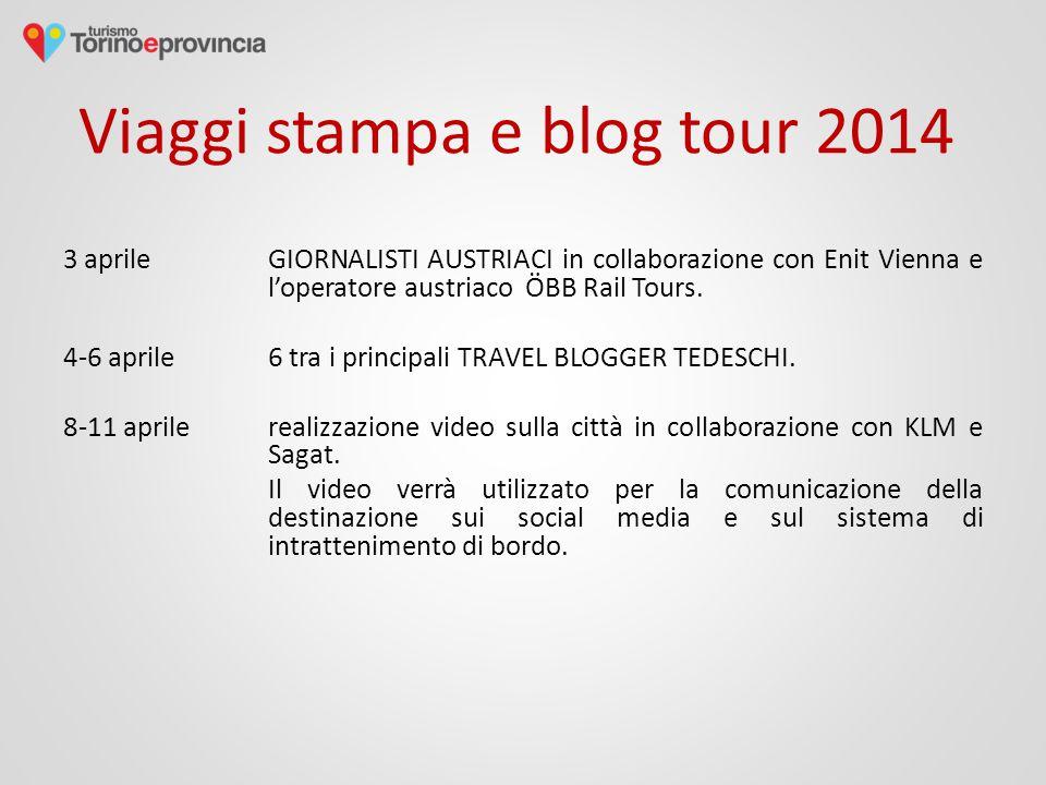 Viaggi stampa e blog tour 2014 3 aprile GIORNALISTI AUSTRIACI in collaborazione con Enit Vienna e l'operatore austriaco ÖBB Rail Tours.