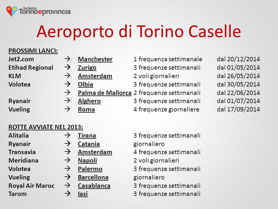 Aeroporto di Torino Caselle PROSSIMI LANCI: Jet2.com  Manchester 1 frequenza settimanaledal 20/12/2014 Etihad Regional  Zurigo 3 frequenze settimanalidal 01/05/2014 KLM  Amsterdam 2 voli giornalieridal 26/05/2014 Volotea  Olbia 3 frequenze settimanalidal 30/05/2014  Palma de Mallorca2 frequenze settimanalidal 22/06/2014 Ryanair  Alghero3 frequenze settimanalidal 01/07/2014 Vueling  Roma 4 frequenze giornalieredal 17/09/2014 ROTTE AVVIATE NEL 2013: Alitalia  Tirana 3 frequenze settimanali Ryanair  Catania giornaliero Transavia  Amsterdam 4 frequenze settimanali Meridiana  Napoli 2 voli giornalieri Volotea  Palermo 3 frequenze settimanali Vueling  Barcellona giornaliero Royal Air Maroc  Casablanca 3 frequenze settimanali Tarom  Iasi 3 frequenze settimanali
