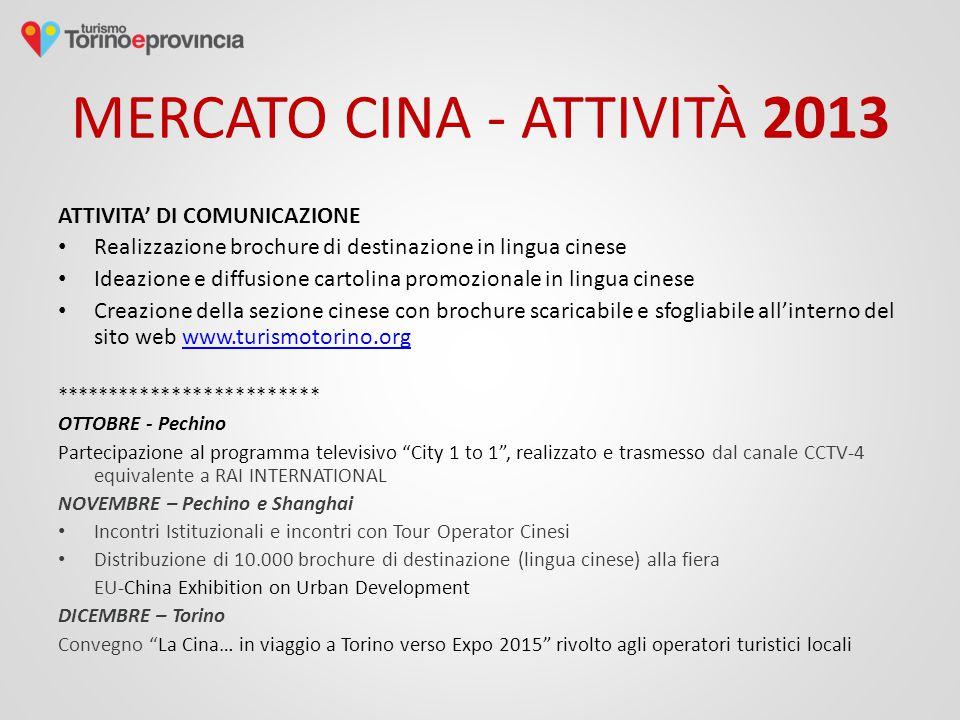 MERCATO CINA - ATTIVITÀ 2013 ATTIVITA' DI COMUNICAZIONE Realizzazione brochure di destinazione in lingua cinese Ideazione e diffusione cartolina promo