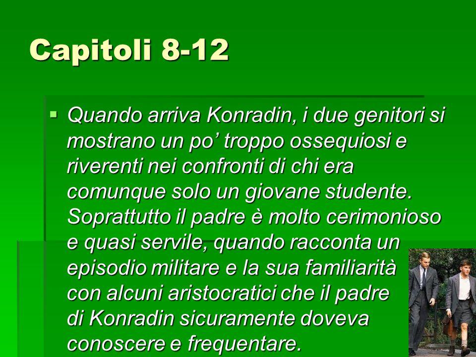 Capitoli 8-12  Quando arriva Konradin, i due genitori si mostrano un po' troppo ossequiosi e riverenti nei confronti di chi era comunque solo un giovane studente.