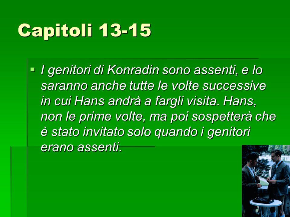 Capitoli 13-15  I genitori di Konradin sono assenti, e lo saranno anche tutte le volte successive in cui Hans andrà a fargli visita.