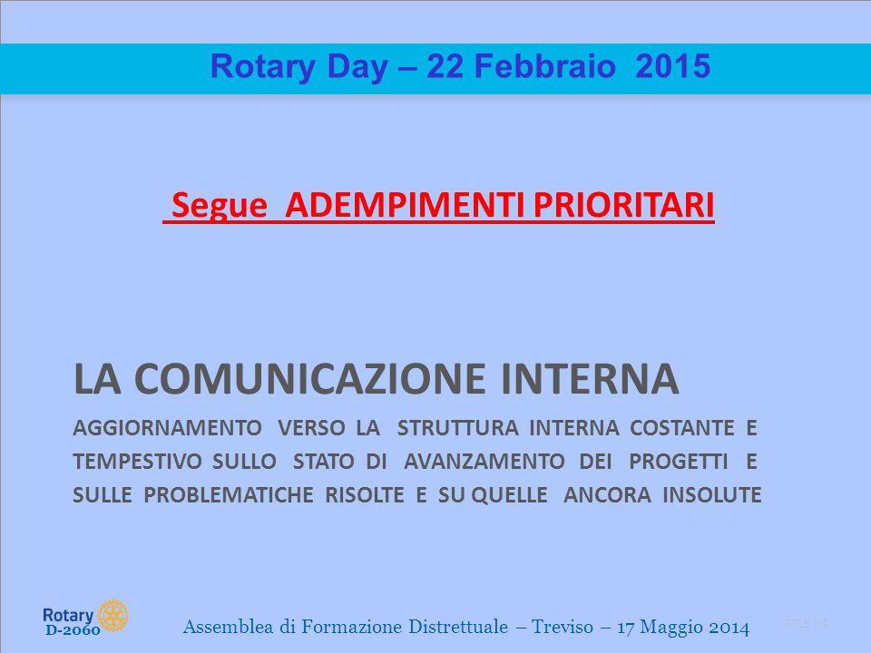 TITLE | 4 Rotary Day – 22 Febbraio 2015 Segue ADEMPIMENTI PRIORITARI LA COMUNICAZIONE INTERNA AGGIORNAMENTO VERSO LA STRUTTURA INTERNA COSTANTE E TEMP