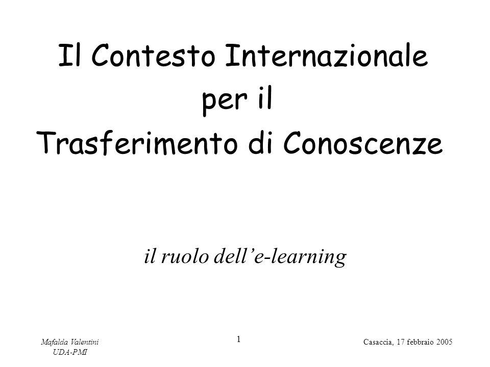 Mafalda Valentini UDA-PMI 1 Casaccia, 17 febbraio 2005 Il Contesto Internazionale Trasferimento di Conoscenze per il il ruolo dell'e-learning