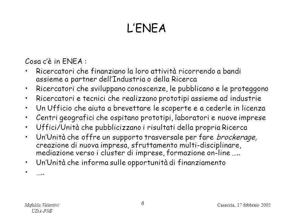 Mafalda Valentini UDA-PMI 6 Casaccia, 17 febbraio 2005 L'ENEA Cosa c'è in ENEA : Ricercatori che finanziano la loro attività ricorrendo a bandi assieme a partner dell'Industria o della Ricerca Ricercatori che sviluppano conoscenze, le pubblicano e le proteggono Ricercatori e tecnici che realizzano prototipi assieme ad industrie Un Ufficio che aiuta a brevettare le scoperte e a cederle in licenza Centri geografici che ospitano prototipi, laboratori e nuove imprese Uffici/Unità che pubblicizzano i risultati della propria Ricerca Un'Unità che offre un supporto trasversale per fare brockerage, creazione di nuova impresa, sfruttamento multi-disciplinare, mediazione verso i cluster di imprese, formazione on-line …..