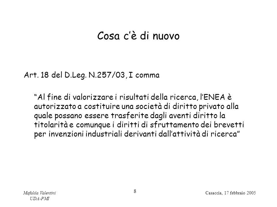 Mafalda Valentini UDA-PMI 8 Casaccia, 17 febbraio 2005 Cosa c'è di nuovo Art.