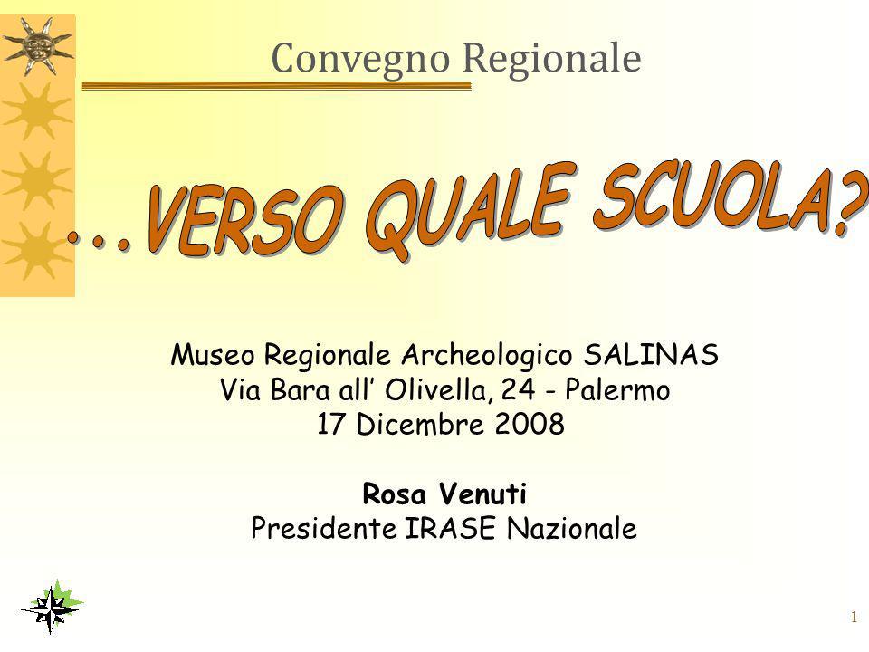 1 Convegno Regionale Museo Regionale Archeologico SALINAS Via Bara all' Olivella, 24 - Palermo 17 Dicembre 2008 Rosa Venuti Presidente IRASE Nazionale