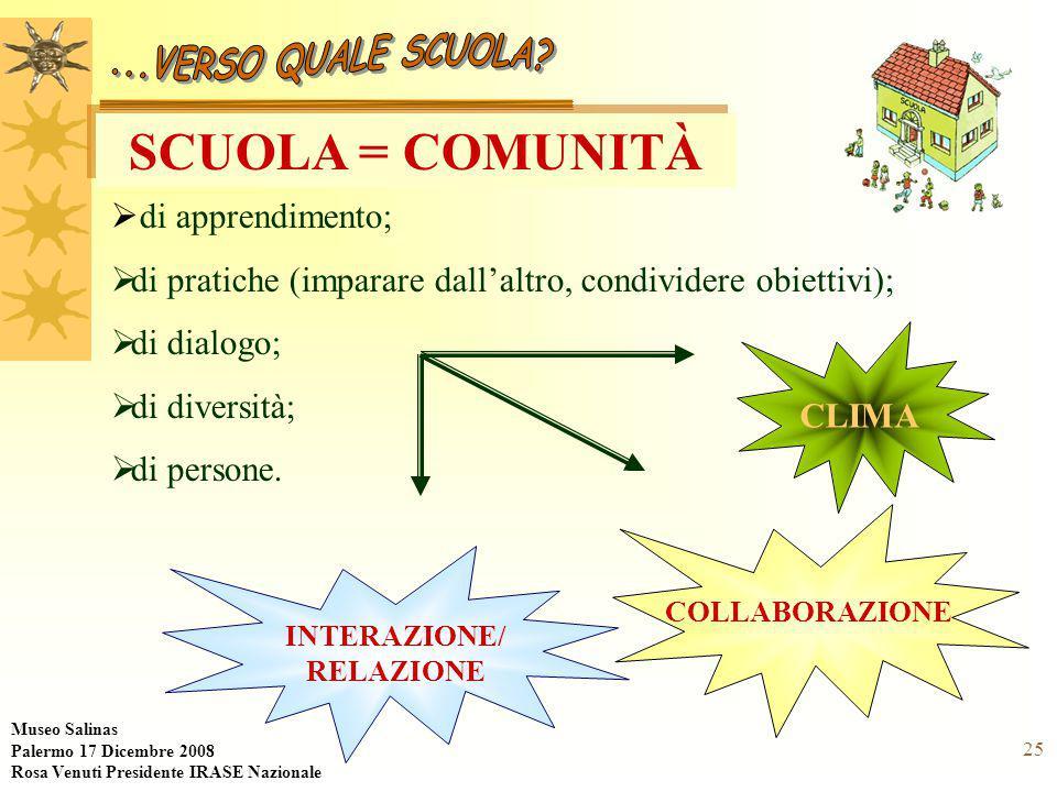 25 SCUOLA = COMUNITÀ  di apprendimento;  di pratiche (imparare dall'altro, condividere obiettivi);  di dialogo;  di diversità;  di persone.