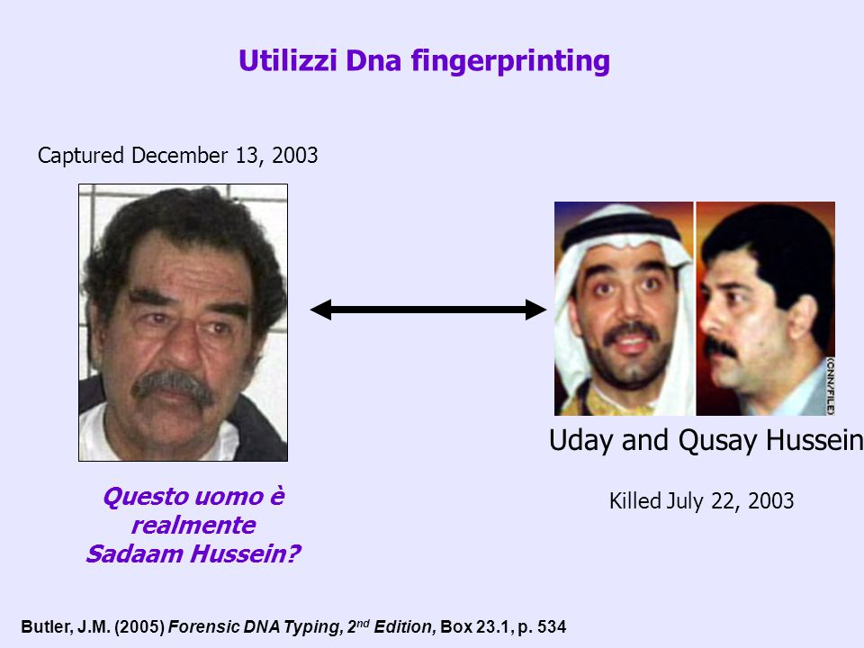 Utilizzi Dna fingerprinting Captured December 13, 2003 Questo uomo è realmente Sadaam Hussein? Uday and Qusay Hussein Killed July 22, 2003 Butler, J.M