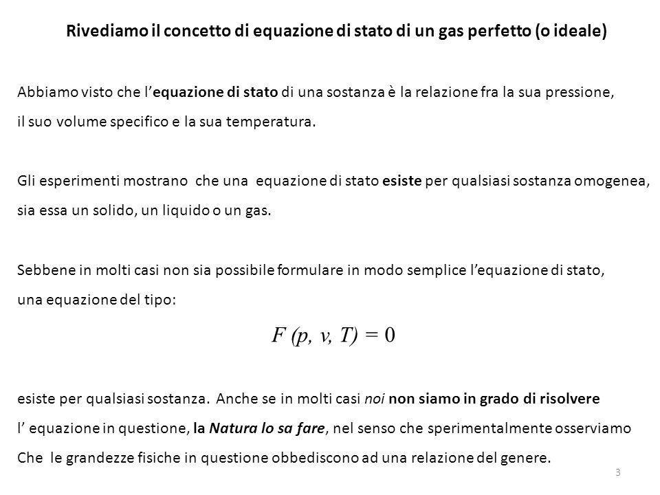 Rivediamo il concetto di equazione di stato di un gas perfetto (o ideale) Abbiamo visto che l'equazione di stato di una sostanza è la relazione fra la