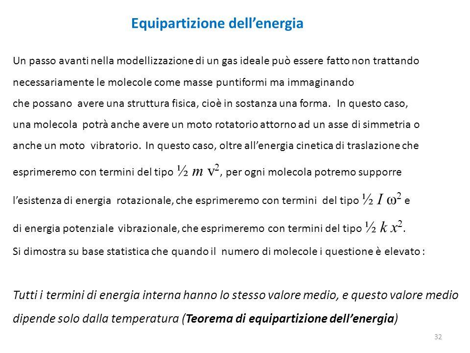 32 Equipartizione dell'energia Un passo avanti nella modellizzazione di un gas ideale può essere fatto non trattando necessariamente le molecole come