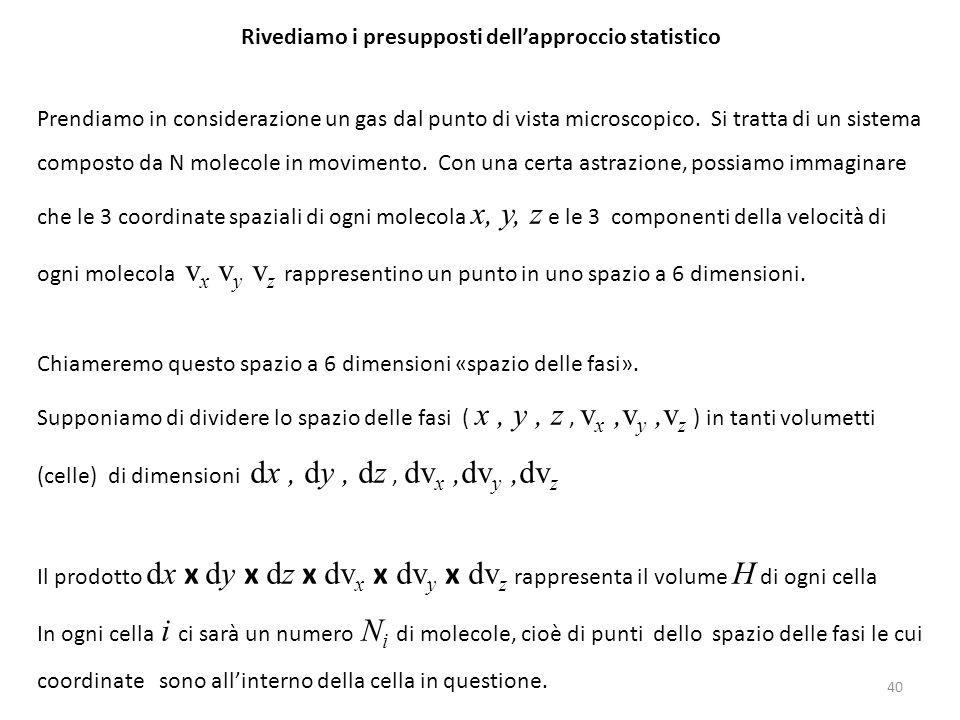 Rivediamo i presupposti dell'approccio statistico Prendiamo in considerazione un gas dal punto di vista microscopico. Si tratta di un sistema composto