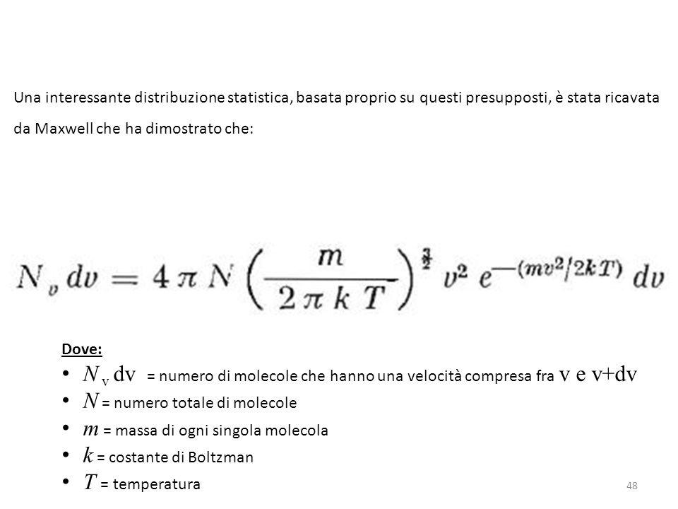 48 Una interessante distribuzione statistica, basata proprio su questi presupposti, è stata ricavata da Maxwell che ha dimostrato che: Dove: N v dv =