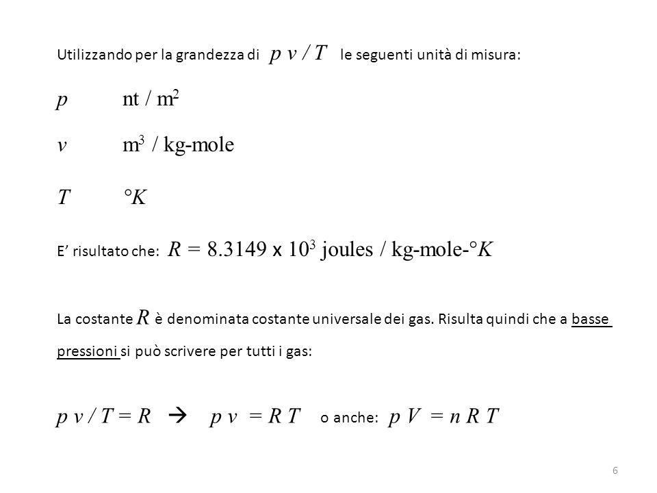 Utilizzando per la grandezza di p v / T le seguenti unità di misura: p nt / m 2 v m 3 / kg-mole T°K E' risultato che: R = 8.3149 x 10 3 joules / kg-mo