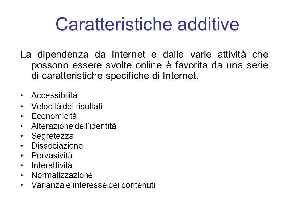 Caratteristiche additive La dipendenza da Internet e dalle varie attività che possono essere svolte online è favorita da una serie di caratteristiche specifiche di Internet.