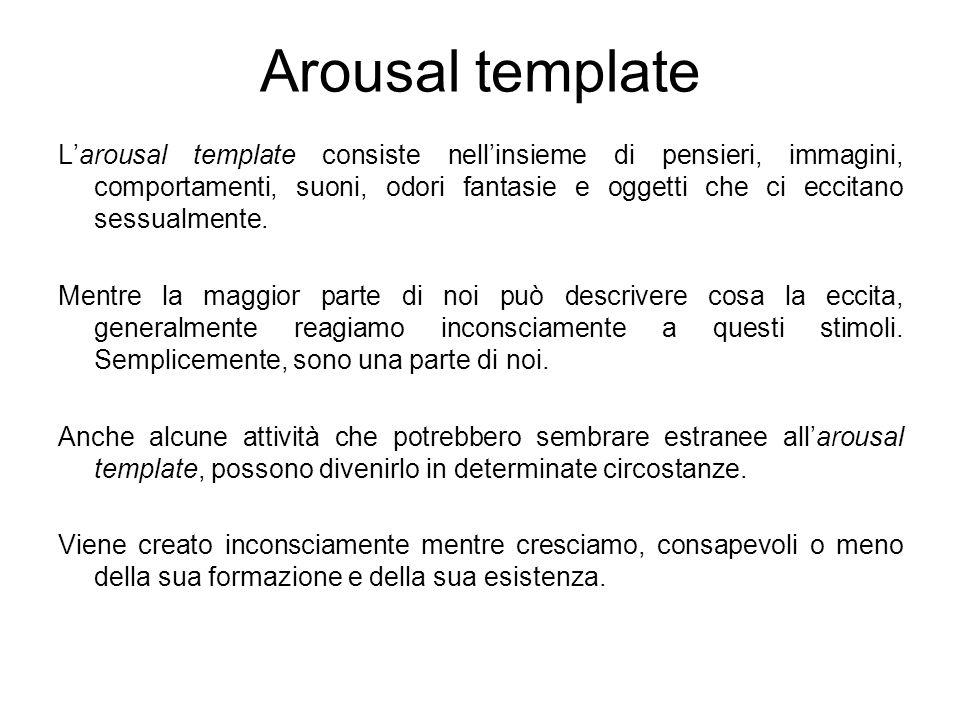 Arousal template L'arousal template consiste nell'insieme di pensieri, immagini, comportamenti, suoni, odori fantasie e oggetti che ci eccitano sessualmente.