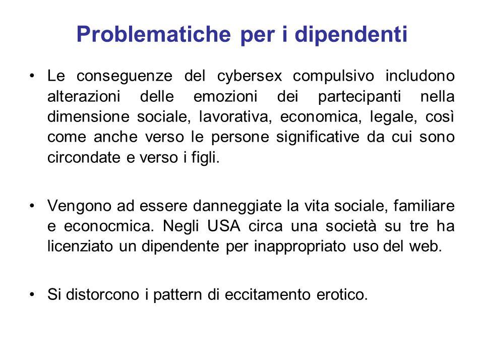 Problematiche per i dipendenti Le conseguenze del cybersex compulsivo includono alterazioni delle emozioni dei partecipanti nella dimensione sociale,