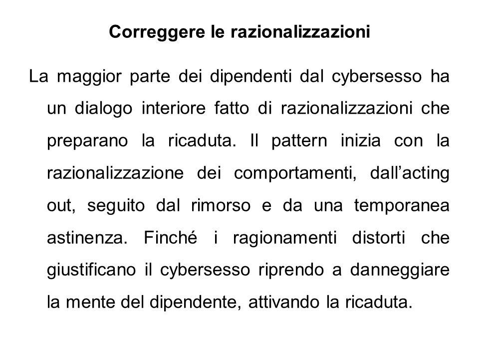 Correggere le razionalizzazioni La maggior parte dei dipendenti dal cybersesso ha un dialogo interiore fatto di razionalizzazioni che preparano la ric
