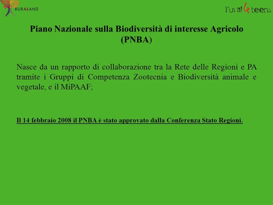 Piano Nazionale sulla Biodiversità di interesse Agricolo (PNBA) Nasce da un rapporto di collaborazione tra la Rete delle Regioni e PA tramite i Gruppi