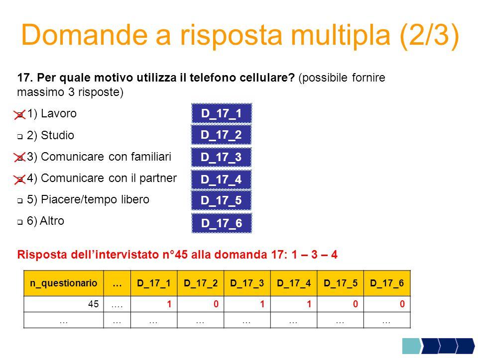 Domande a risposta multipla (2/3) 17.Per quale motivo utilizza il telefono cellulare.