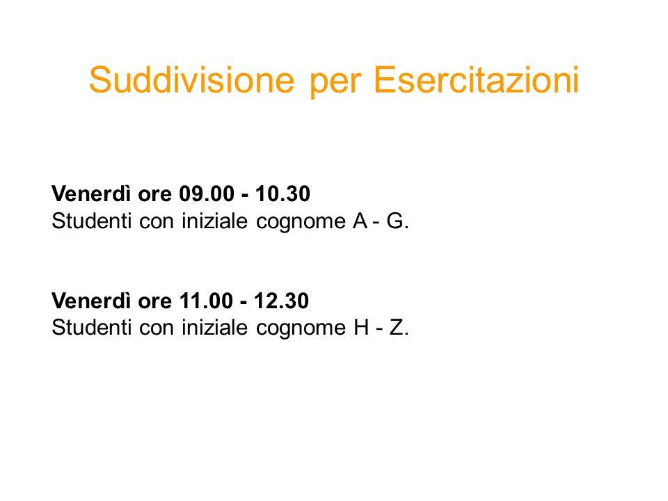 Suddivisione per Esercitazioni Venerdì ore 09.00 - 10.30 Studenti con iniziale cognome A - G.